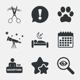 Hotel services icon. Pets allowed, hairdresser. Stock Images