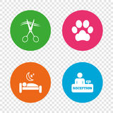 Hotel services icon. Pets allowed, hairdresser. Royalty Free Stock Photography