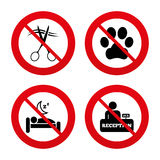 Hotel services icon. Pets allowed, hairdresser. No, Ban or Stop signs. Hotel services icons. With pets allowed in room signs. Hairdresser or barbershop symbol Royalty Free Stock Photos