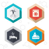 Hotel services icon. Washing machine, hairdresser. Hexagon buttons. Hotel services icons. Washing machine or laundry sign. Hairdresser or barbershop symbol Stock Image