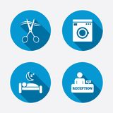 Hotel services icon. Washing machine, hairdresser Stock Image