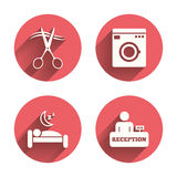 Hotel services icon. Washing machine, hairdresser. Hotel services icons. Washing machine or laundry sign. Hairdresser or barbershop symbol. Reception Stock Images