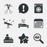 Hotel services icon. Washing machine, hairdresser. Hotel services icons. Washing machine or laundry sign. Hairdresser or barbershop symbol. Reception Royalty Free Stock Image