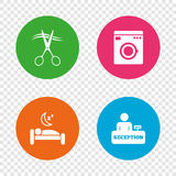 Hotel services icon. Washing machine, hairdresser. Royalty Free Stock Photography