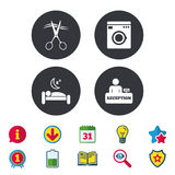 Hotel services icon. Washing machine, hairdresser. Hotel services icons. Washing machine or laundry sign. Hairdresser or barbershop symbol. Reception Stock Photography