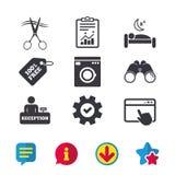 Hotel services icon. Washing machine, hairdresser. Royalty Free Stock Image