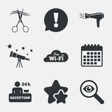 Hotel services icon. Wi-fi, Hairdryer. Hotel services icons. Wi-fi, Hairdryer in room signs. Wireless Network. Hairdresser or barbershop symbol. Reception Stock Images
