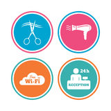 Hotel services icon. Wi-fi, Hairdryer. Hotel services icons. Wi-fi, Hairdryer in room signs. Wireless Network. Hairdresser or barbershop symbol. Reception Stock Photo