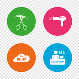 Hotel services icon. Wi-fi, Hairdryer. Stock Photo