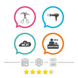 Hotel services icon. Wi-fi, Hairdryer. Royalty Free Stock Photo