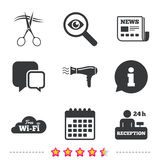 Hotel services icon. Wi-fi, Hairdryer. Royalty Free Stock Image