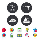 Hotel services icon. Wi-fi, Hairdryer. Hotel services icons. Wi-fi, Hairdryer in room signs. Wireless Network. Hairdresser or barbershop symbol. Reception Royalty Free Stock Photos