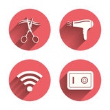 Hotel services icon. Wi-fi, Hairdryer and safe Stock Photo