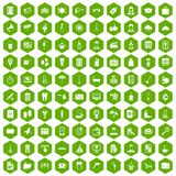 100 hotel services icons hexagon green Stock Photography