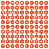 100 hotel services icons hexagon orange. 100 hotel services icons set in orange hexagon isolated vector illustration Royalty Free Stock Image