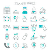 Hotel services icons. Modern line icons. Flat design. Vector Stock Photos