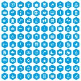 100 hotel services icons set blue. 100 hotel services icons set in blue hexagon isolated vector illustration vector illustration