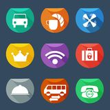 Hotel services icons set Flat UI Stock Images