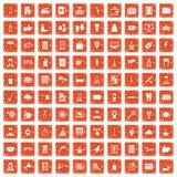 100 hotel services icons set grunge orange. 100 hotel services icons set in grunge style orange color isolated on white background vector illustration Stock Photography