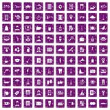 100 hotel services icons set grunge purple. 100 hotel services icons set in grunge style purple color isolated on white background vector illustration vector illustration