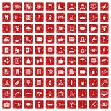 100 hotel services icons set grunge red. 100 hotel services icons set in grunge style red color isolated on white background vector illustration Royalty Free Stock Photo