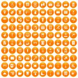 100 hotel services icons set orange. 100 hotel services icons set in orange circle isolated vector illustration Royalty Free Illustration