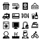 Hotel and Services Icons Set. Vector Royalty Free Stock Image