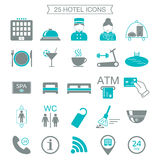 25 hotel services icons. Silhouette. Color block. Isolated.  Royalty Free Stock Photo