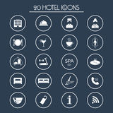 20 hotel services icons. Silhouette. Vector. Illustration Stock Photography