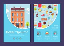 Hotel and Services Info Internet Page Template Stock Photos