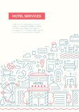 Hotel Services - line design brochure poster template A4 Royalty Free Stock Image