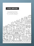 Hotel Services - line design brochure poster template A4 Stock Image