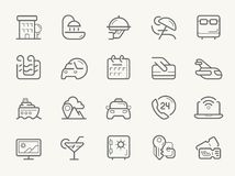 Hotel Services line icons Royalty Free Stock Images