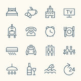 Hotel services line icons Stock Photo