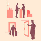 Hotel services. Reception. Vector illustration. Pink background. Staff and woman silhouettes.n Royalty Free Stock Photography