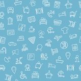 Hotel services, seamless pattern, blue. Stock Image