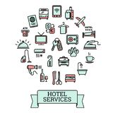 Hotel services - set of 25 color vector outline icons Royalty Free Stock Image