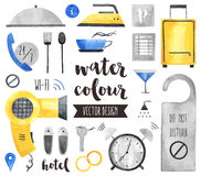 Hotel Services Watercolor Vector Objects Stock Image