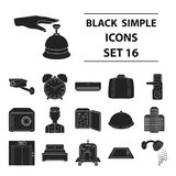 Hotel set icons in black style.  Stock Photos