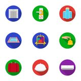 Hotel set icons in flat style. Big collection of hotel vector symbol stock illustration Stock Images