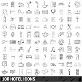 100 hotel icons set, outline style. 100 hotel set in outline style for any design illustration vector illustration