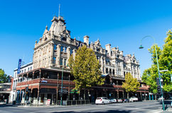 Hotel Shamrock in Bendigo, Australia. The Hotel Shamrock on Pall Mall in Bendigo, Australia is a grand 19th century hotel, funded by the gold rush that gave stock images