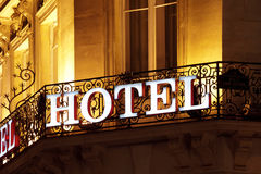 Hotel sign stock image