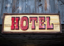 Hotel sign. A western style hotel sign Stock Images