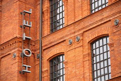 Hotel sign. Historic factory building style. Hotel sign Royalty Free Stock Image