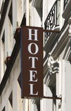 Hotel sign. (photo taken in Paris, France Royalty Free Stock Photo