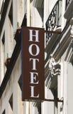 Hotel sign. (photo taken in Paris, France royalty free stock photo