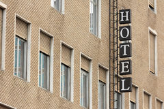 Hotel sign. Facade of urban building with hotel sign Royalty Free Stock Photography