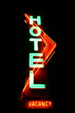 Hotel Sign. Neon hotel sign with vacancy Stock Image