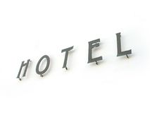 Hotel Sign. A hotel sign (indeed letters fastened on the wall stock image